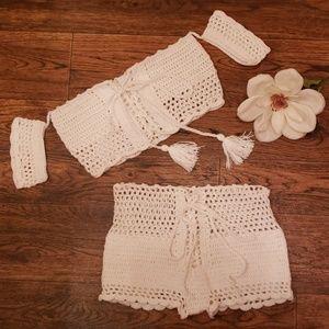 Boho crocheted boyshort bikini set